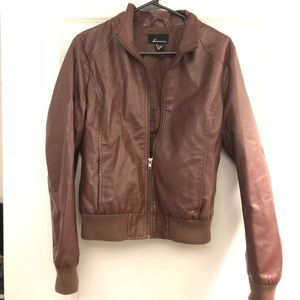 Brown forever 21 leather jacket